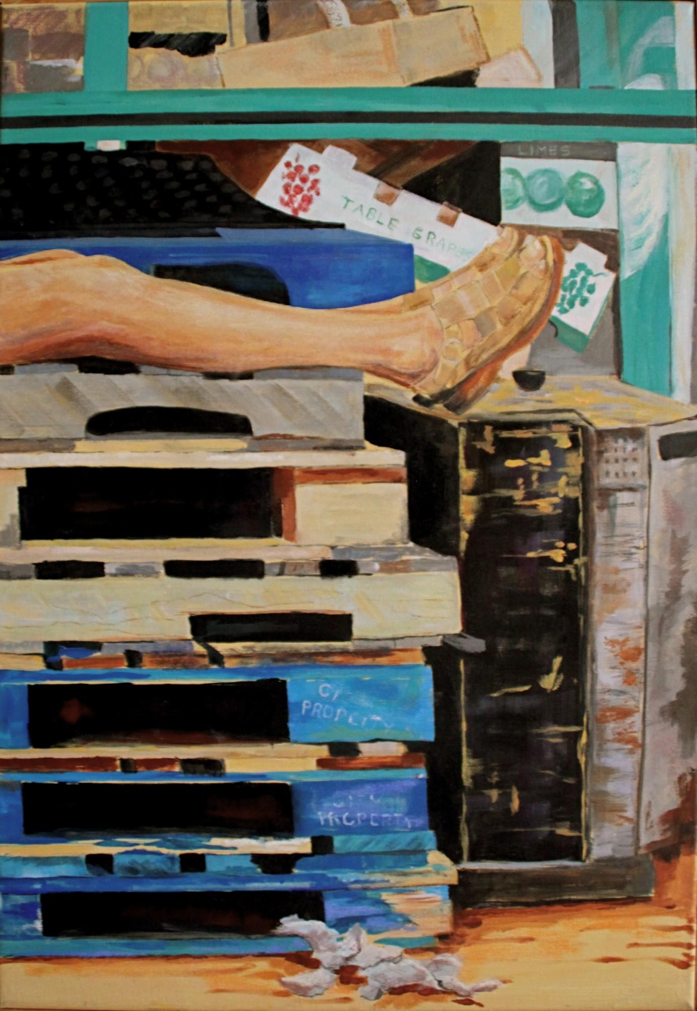 """Taking a Break at the Westside Market - 18""""w. x 26""""ht. - Acrylic"""