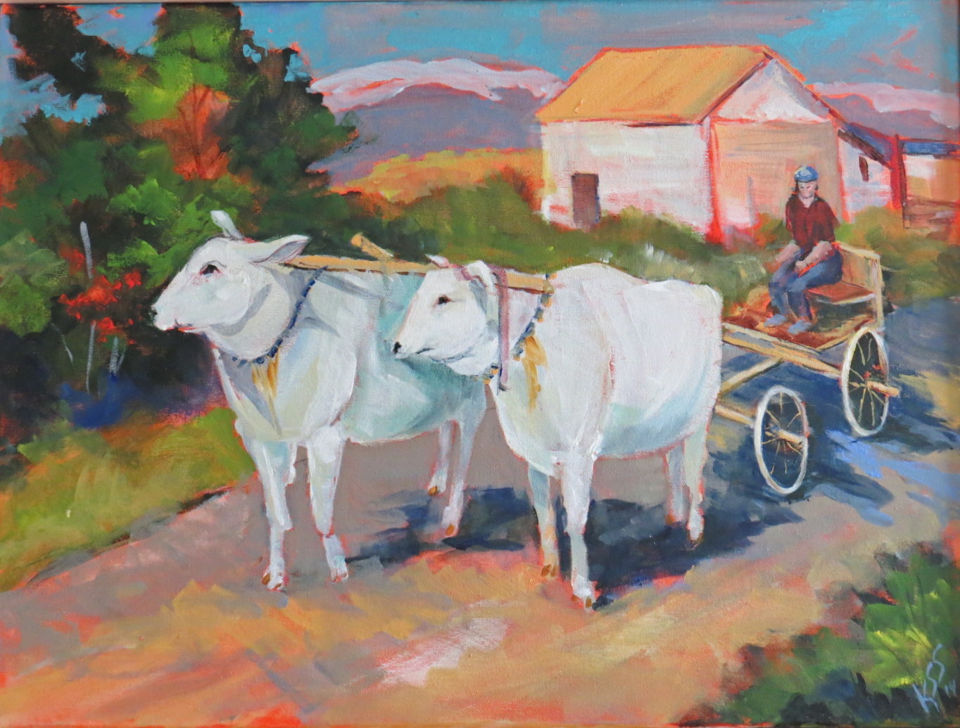 "On the Way Home - 14""w.  x 18""ht. - Acrylic (ox cart)"