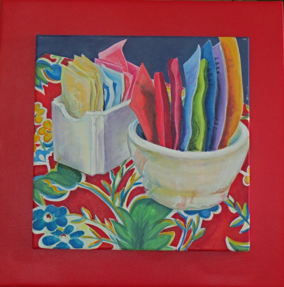 """Sante Fe Tea - 22""""w. x22""""ht. (Red faux leather back included) - 16""""w. 16""""ht. (No backing) Acrylic - Giclee available"""