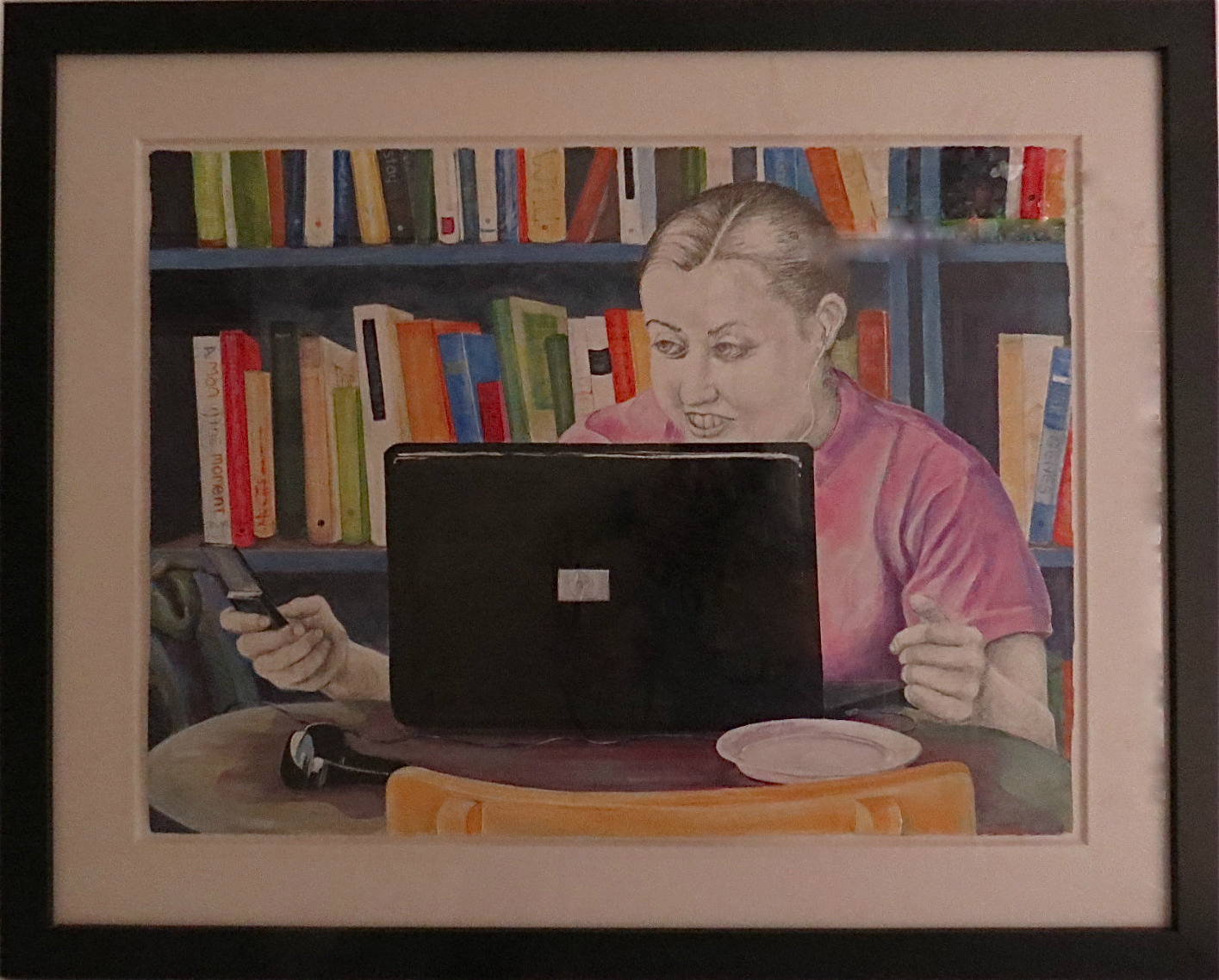 """Coffee Shop Afternoons - 39""""w. x 31""""ht. - Acrylic and Pencil - comes with framed glass"""